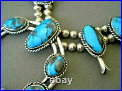 Native American Morenci Bisbee Turquoise Sterling Silver Squash Blossom Necklace