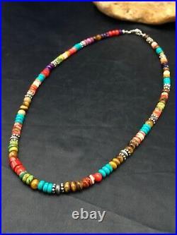 Native American Multicolor Treasure Turquoise Sterling Silver Necklace 20 4167