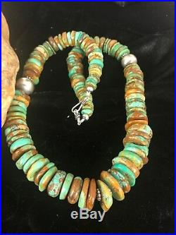 Native American Navajo Green Turquoise Sterling Silver Necklace 20 Rare 016