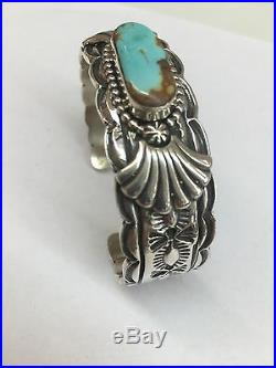 Native American Navajo HandMade Sterling Silver Royston Turquoise Cuff Bracelet