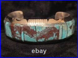 Native American Navajo Handmade Turquoise Inlay Bracelet Cuff Sterling Silver