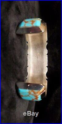 Native American Navajo Handmade Turquoise Inlay Bracelet Sterling Silver