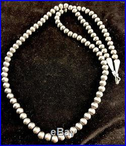 Native American Navajo Pearls 5 mm Sterling Silver Bead Necklace 24 Sale GiftA6