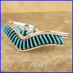 Native American Navajo Sterling Silver Turquoise Row Cuff Bracelet Sz 6 HH