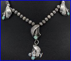 Native American Navajo Sterling Silver Turquoise Squash Blossom Necklace HSL NR