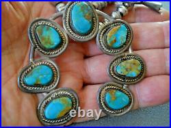 Native American Pilot Mountain Turquoise Sterling Silver Squash Blossom Necklace