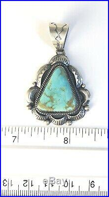 Native American Sterling Silver Navajo Indian Kingman Turquoise Pendant Signed