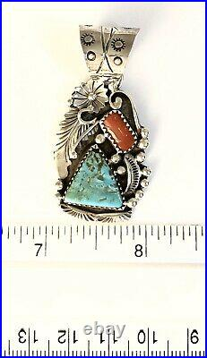 Native American Sterling Silver Navajo Kingman Turquoise & Coral Pendant. Signed