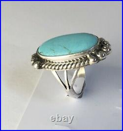 Native American Sterling Silver Navajo Kingman Turquoise Ring. Size 6 & 1/4