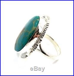 Native American Sterling Silver Navajo Kingman Turquoise Ring Size 8