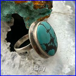 Native American Sterling Silver Oval Turquoise Ring Size 8 For Women or Men