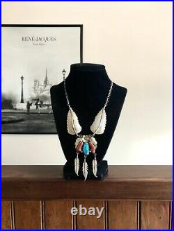 Native American Sterling Silver Turquoise Coral Necklace 925 Feathers & Blossom