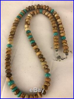 Native American Sterling Silver Turquoise Picture Jasper Men's Necklace Gift