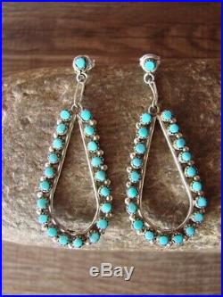 Native American Sterling Silver Turquoise Post Earrings! Zuni Indian