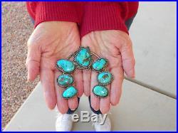 Native American Sterling Silver & Turquoise Squash Blossom Naja 60 Grams
