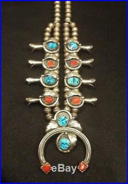 Native American Sterling Squash Blossom Necklace Turquoise And Coral Old Pawn