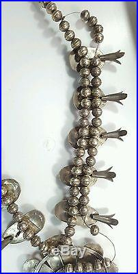 Native American Vintage Sterling Silver Turquoise Squash Blossom Necklace