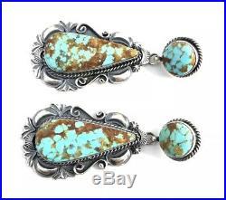 Native American sterling silver navajo Kingman Turquoise Dangle earrings
