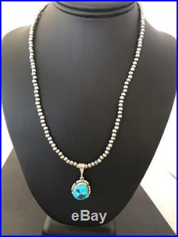 Native Sterling Silver Kingman Turquoise Necklace Pendant Signed Navajo Pearls