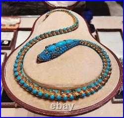 Natural Rosecut Diamond Turquoise Snake 925 Sterling Silver Necklace Jewelry