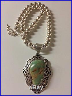 Navajo Alex Sanchez Sterling Silver Turquoise Pendant & Sterling Bead Necklace