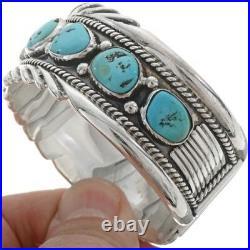 Navajo BIG BOY Sterling Silver Sleeping Beauty Turquoise BRACELET Men's Cuff