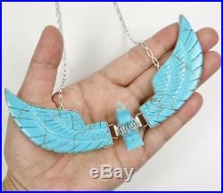 Navajo Ben Livingston Carved Turquoise Huge XL Eagle Pendant Sterling Necklace