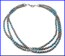 Navajo Handmade 3 Strand Turquoise & Pearls Sterling Silver 55g