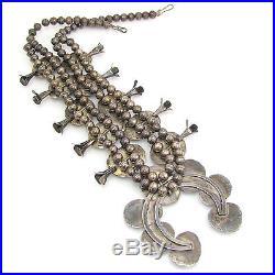 Navajo Handmade 925 Sterling Silver Turquoise Squash Blossom Naja Necklace G RA
