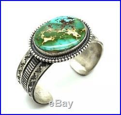 Navajo Handmade Sterling Silver Royston Turquoise Cuff Bracelet