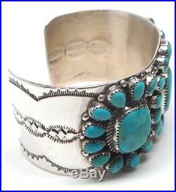 Navajo Handmade Sterling Silver Turquoise Cluster Bracelet Rosanna Williams