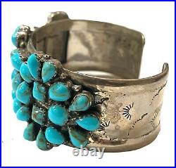 Navajo Handmade Sterling Silver Turquoise Cluster Cuff Bracelet