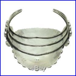 Navajo Handmade Sterling Silver Turquoise Cluster Cuff Bracelet OM