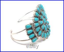 Navajo Handmade Sterling Silver Turquoise Cluster Cuff Bracelet- Pamela Benally