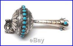 Navajo Handmade Sterling Silver Turquoise Squash Blossom Pendant