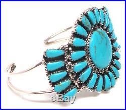Navajo Handmade Sterling Silver stabilize Turquoise Cluster Bracelet D. Benally