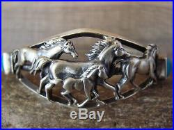 Navajo Indian Jewelry Sterling Silver Turquoise Horse Cuff by Bobby Platero