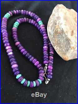 Navajo Indian Purple Sugilite Turquoise Bead Sterling Silver Necklace Gift