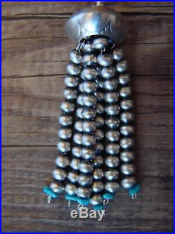Navajo Indian Sterling Silver Turquoise Beaded Tassel Pendant by Jan Mariano