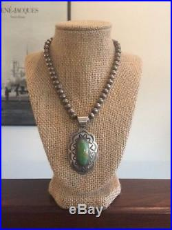 Navajo Large Turquoise Pendant Chimney Butte Sterling Silver Beaded Necklace 925