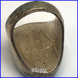 Navajo Mens Turquoise Ring Sz 9 Vtg Big Sterling Silver 29g Handmade Indian