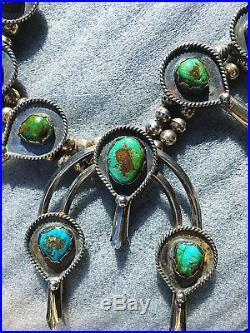 Navajo Morenci Pyrite Turquoise Sterling Silver Squash Blossom Necklace Blue VTG