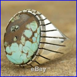 Navajo Native American Sterling Silver Rustic Turquoise Ring Size 13 Ray Jack