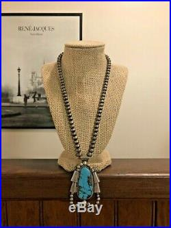 Navajo Old Pawn Sterling Silver Bench Beads Large Turquoise Pendant Necklace 925