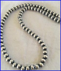Navajo Pearls Classic 8 mm Sterling Silver Bead Necklace 24 Sale