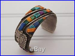 Navajo Pete Sierra Turquoise Cast Sterling Silver Cuff Bracelet Study with Loloma