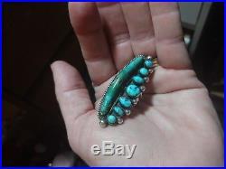 Navajo Sterling Silver 7 blue Matrix & Royston long Turquoise Vintage Ring 9