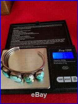 Navajo Sterling Turquoise Native American Dead Pawn Cuff Bracelet Vintage Silver