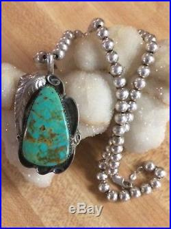 Navajo Turquoise Pendant & Sterling Silver Bead Necklace TT Southwestern 925