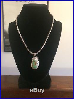 Navajo Turquoise Pendant & Sterling Silver Bead Necklace V NEZ Southwestern 925